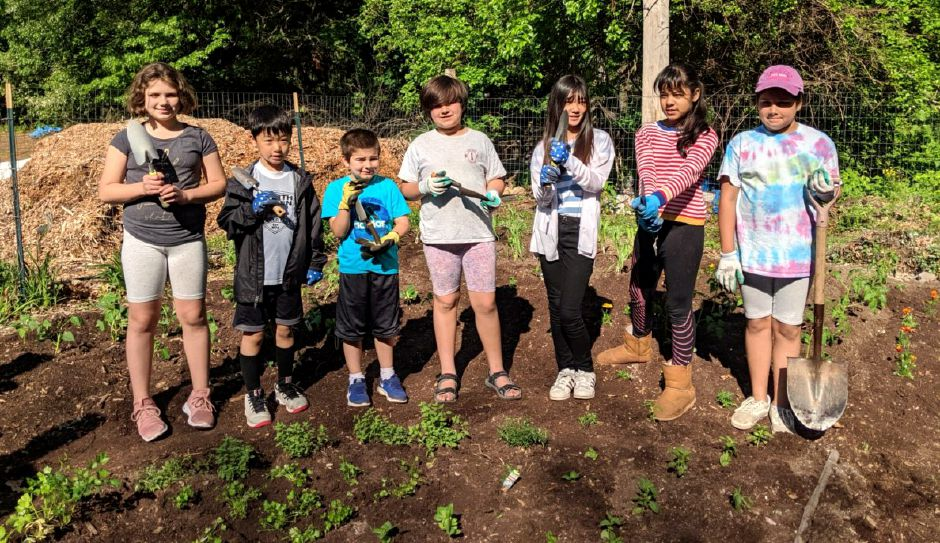Junior Garden Club members left to right Lilly Velasco, David Kim, Eric Sober, Daisy Velasco, Minjoo Kim, Clarissa Kumar and Iris Velasco.