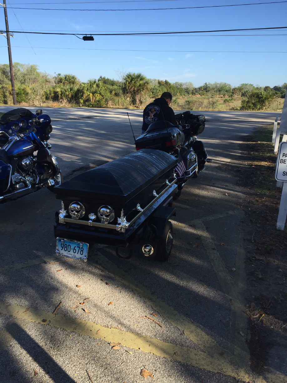Friends of Rob Foxx, a Wallingford resident who died of cancer, hitched his casket to a Harley Davidson motorcycle and rode their bikes until they arrived in the place their friend always wanted to go - Key West. | Contributed photo