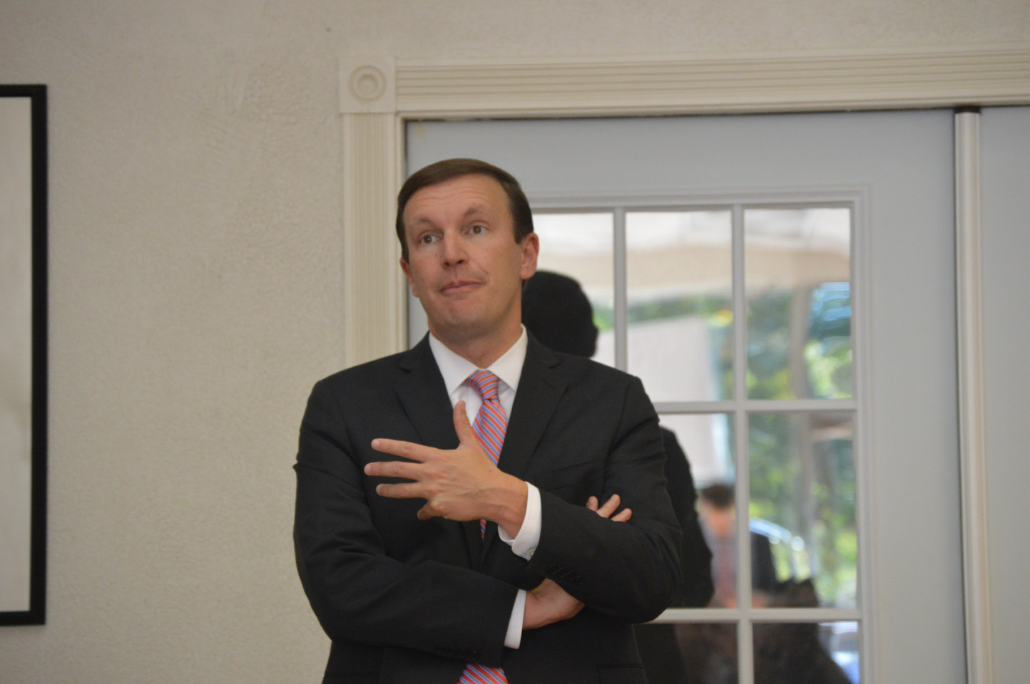 FILE PHOTO --  U.S. Sen Chris Murphy, D-Connecticut, told public officials and advocates Friday in Wallingford that he is pushing for federal funding to address opioid addiction. He asked those in attedance for advice on how it should be spent if approved. The Oct. 7, 2016   meeting was held at the Coalition for a Better Wallingford