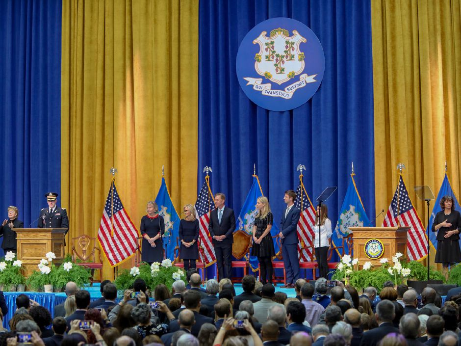 Gov. Ned Lamont on stage during the inauguration ceremony in Hartford Jan. 9, 2019. | Dave Zajac, Record-Journal