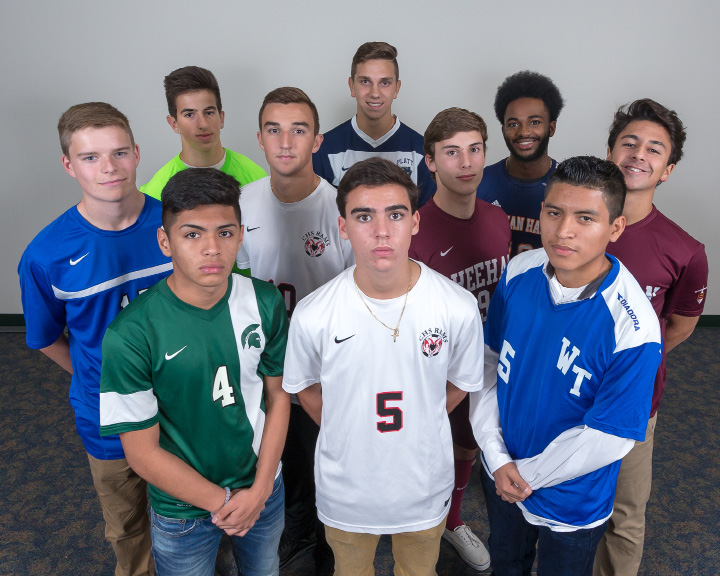 Introducing the All-Record-Journal Boys Soccer Team. In the front, from left, are Maloney's Francisco Ortega, Cheshire's Mitch Manware and Wilcox Tech's Kelvin Cortez. In the middle, from left, are Southington's Hayden Burbank, Cheshire's Andre Pereira, Sheehan teammates Andrew Caplan and Ahmed Said. In the back, from left, are Southington's Evan Daddona, Platt's Adrian Janko and Lyman Hall's Jon Beaucejour. | Justin Weekes, For the Record-Journal