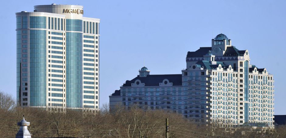 FILE - In this Nov. 11, 2010 photo, buildings of the Foxwoods Resorts Casino rise over the landscape in Ledyard, Conn. (AP Photo/Jessica Hill, File)