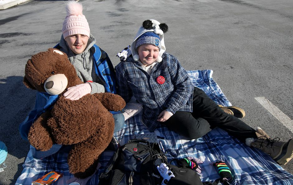 John Thompson, left, and sister Amanda, of Southington, camp out while waiting for the opening of the new Chick-fil-A on Queen Street in Southington, Wednesday, Jan. 10, 2018. Campers waiting until the doors officially open Thursday morning win free meals for a year. | Dave Zajac, Record-Journal