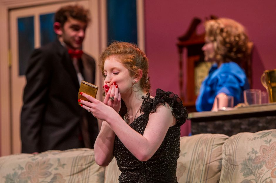 Piper Birney as Claire (front) , Connor Parente as Lenny and Hannah Blanchard as Chris rehearse for the Lyman Hall High School theater production Feb. 6, 2019. | Ron Paris, Special to the Record-Journal