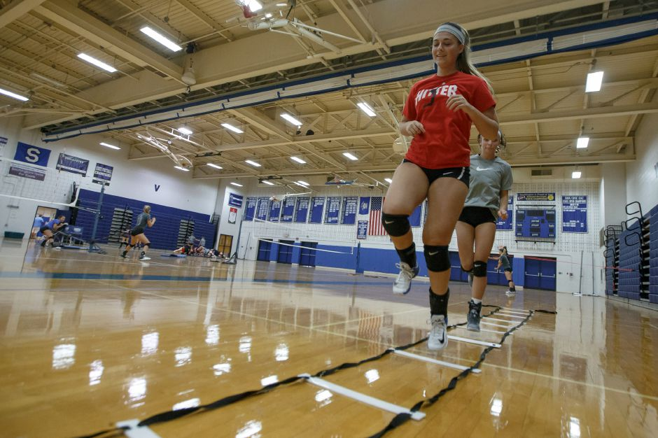 Brooke Cooney and the Southington girls volleyball team no doubt had an extra spring their step Wednesday upon learning they were voted No. 1 in this week's state coaches' poll. | Justin Weekes / Special to the Record-Journal