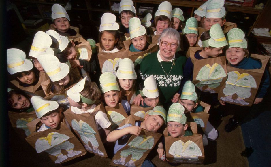 RJ file photo - Sister Helen Ruane and her class of 26 kindergarteners at St. Joseph School in Meriden dress as leprechauns for St. Patrick