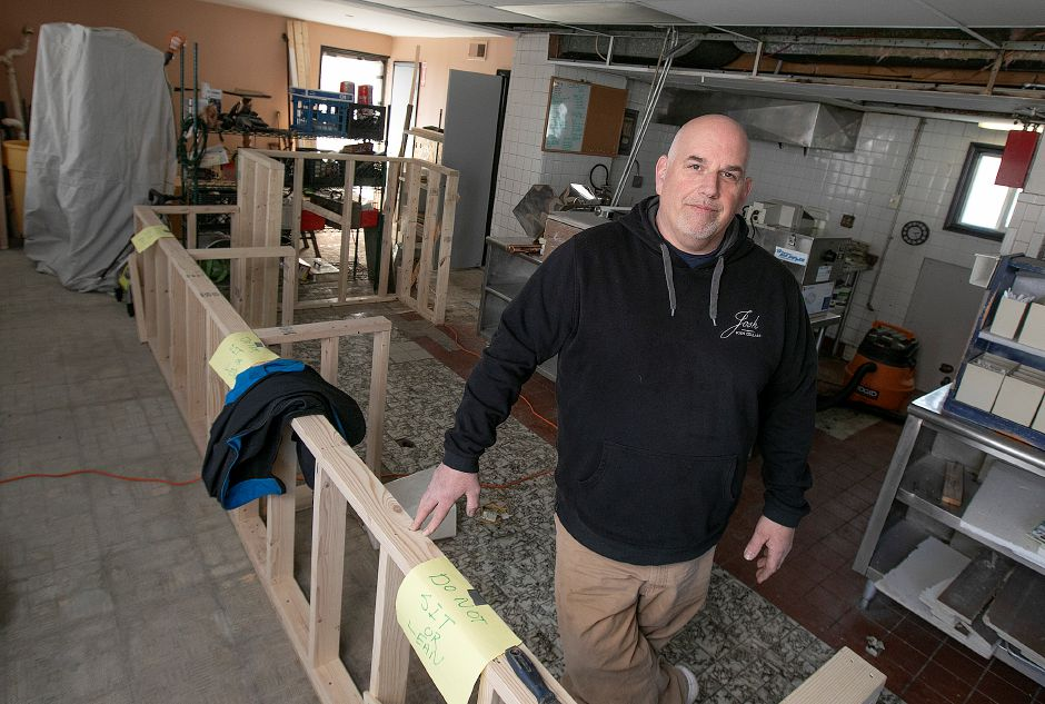 Wallingford native Dave Silvia co-owns  Roscoe's Smokehouse, a new business under construction in the former Anthony's Subs on Route 5 in Wallingford. Silvia expects to open soon. Photos by Dave Zajac, Record-Journal