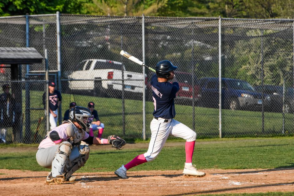 Jake Ranney hits one deep for Lyman Hall during Friday night's rivalry game against Sheehan at Pat Wall Field. | Jim McGovern, Special to the Record-Journal