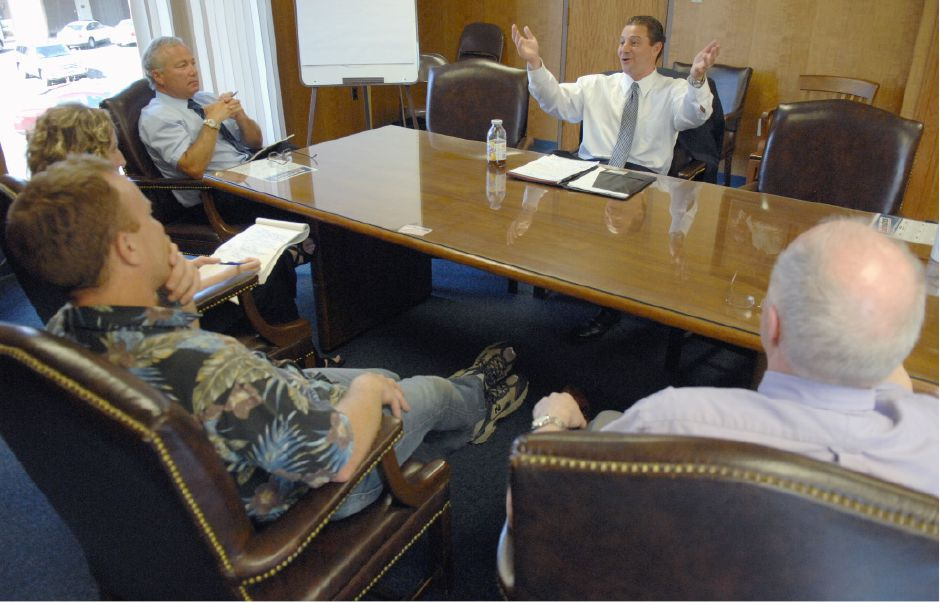 June 12, 2008 - Meriden Mayor Mark Benigni meets with the editorial board of the Record-Journal one final time on Thursday, June 12, 2008, before he resigns as mayor.