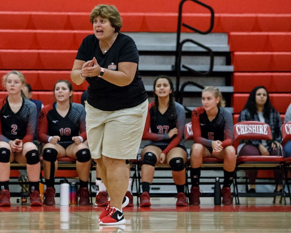 Cheshire volleyball coach Sue Bavone saw her Rams repeat as SCC Tournament champs with a 3-2 victory over Amity on Saturday night at East Haven. | Justin Weekes / Special to the Record-Journal