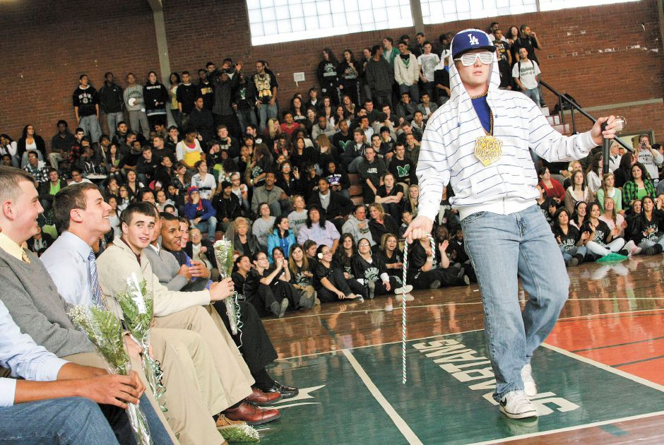 Ryan Maloney, 17 and a senior at Maloney High School in Meriden, performs Katy Perry