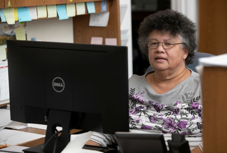 Personnel Clerk Ruth Green works at her desk at Meriden City Hall, Fri., Jan. 18, 2019. Green is retiring after 36 years of service. Dave Zajac, Record-Journal