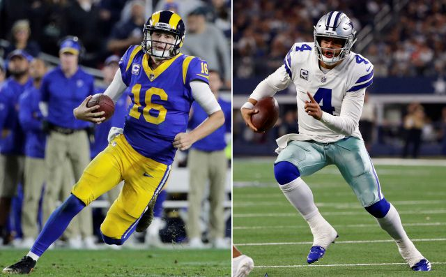 FILE - At left, in a Dec. 16, 2018, file photo, Los Angeles Rams quarterback Jared Goff carries the ball during an NFL football game against the Philadelphia Eagles, in Los Angeles. At right, in a Nov. 22, 2018, file photo, Dallas Cowboys quarterback Dak Prescott (4) scrambles against the Washington Redskins during the first half of an NFL football game, in Arlington, Texas. The Rams and Cowboys meet in a divisional playoff game on Saturday, Jan. 12, 2019. (AP Photo/File)