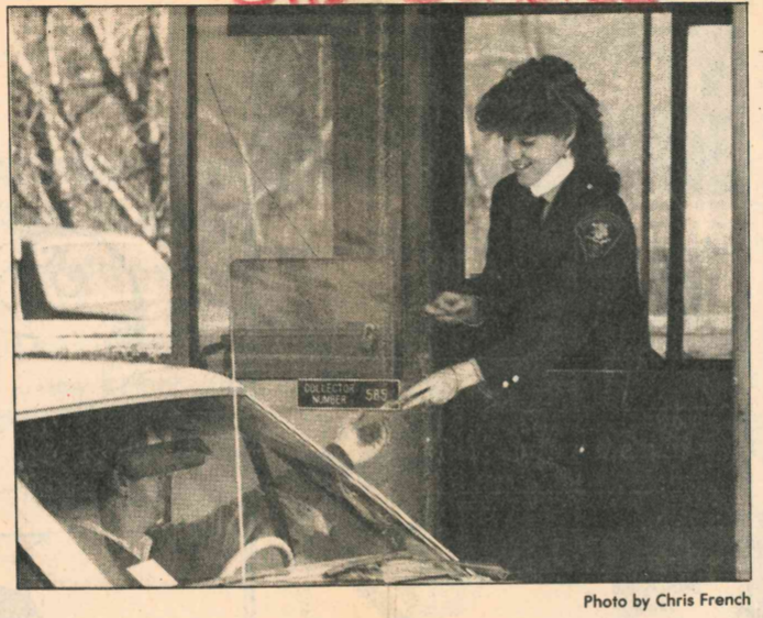 Toll collector Nancy Laraia greets drivers with a smile at a toll booth in 1985. | Record-Journal archives