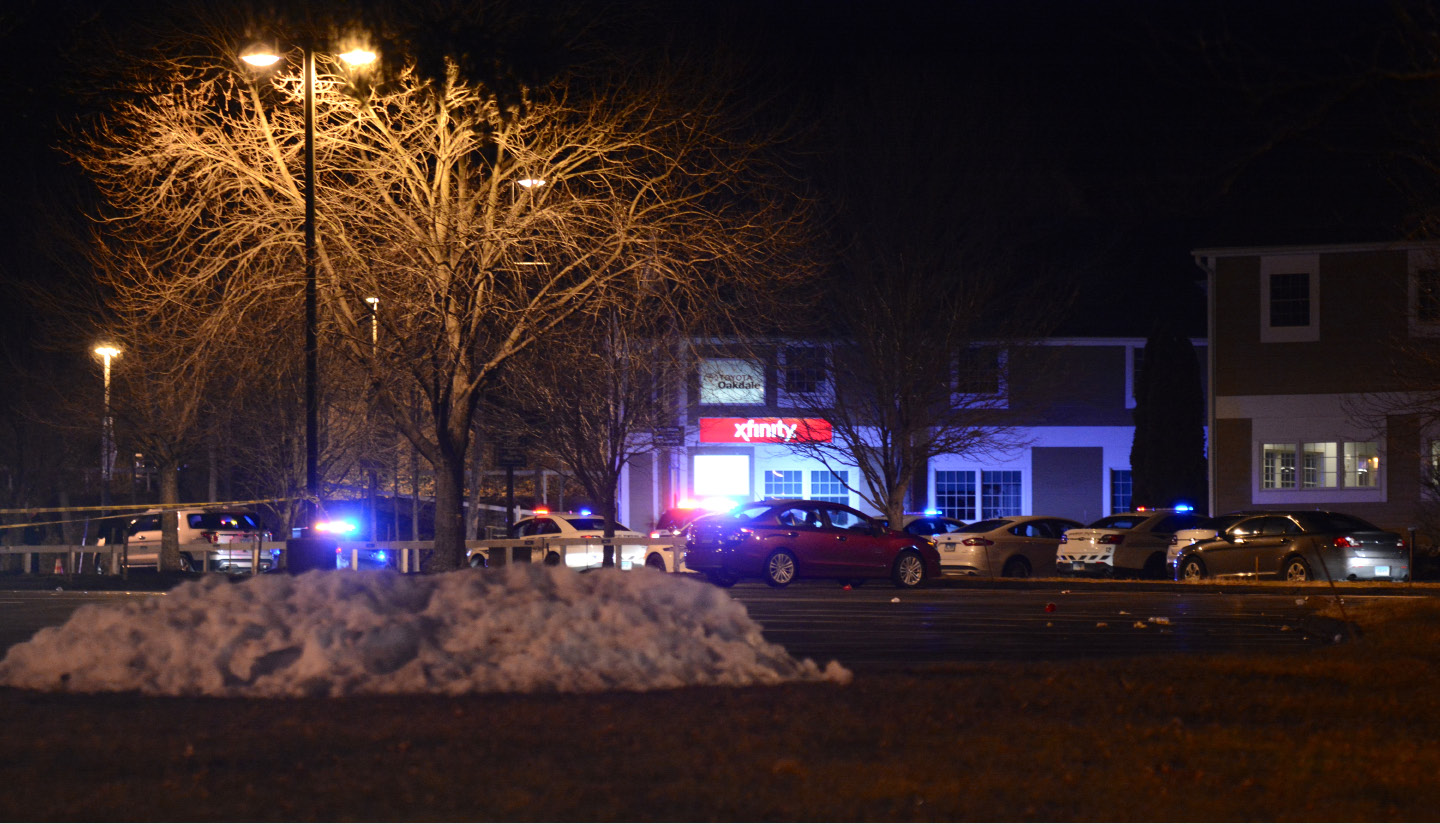 Police investigate after four people were shot and two were killed following a concert at the Oakdale Theatre in Wallingford on Friday, Dec. 30. | Bryan Lipiner, Record-Journal
