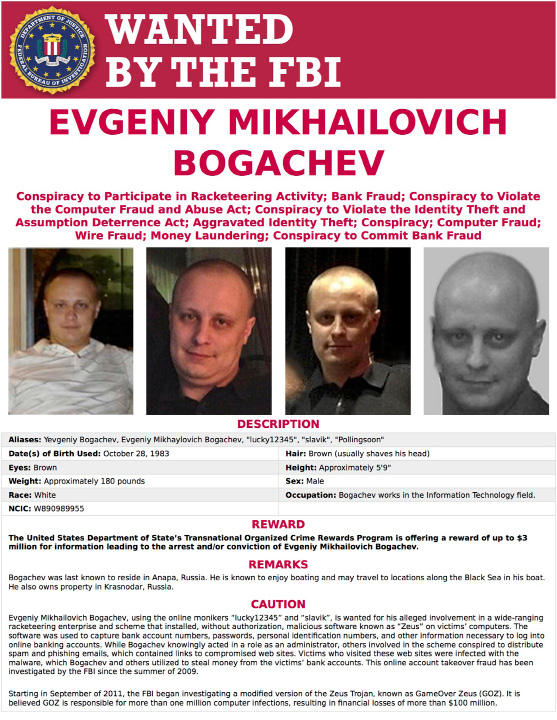 This image provided by the FBI shows the wanted poster for Evgeniy Bogachev. In a sweeping response to election hacking, President Barack Obama sanctioned Russian intelligence services and their top officials, kicked out 35 Russian officials and shuttered two Russian-owned compounds in the U.S. It was the strongest action the Obama administration has taken to date to retaliate for a cyberattack.  Other individuals sanctioned include Bogachev and Alexey Belan, two Russian nationals who have been wanted by the FBI for cyber crimes for years. (FBI via AP)