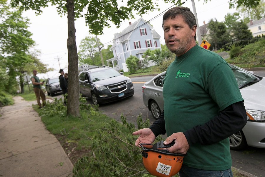 John Cervero, owner of Wallingford Tree Service, talks about the challenge of cleaning up after Tuesday