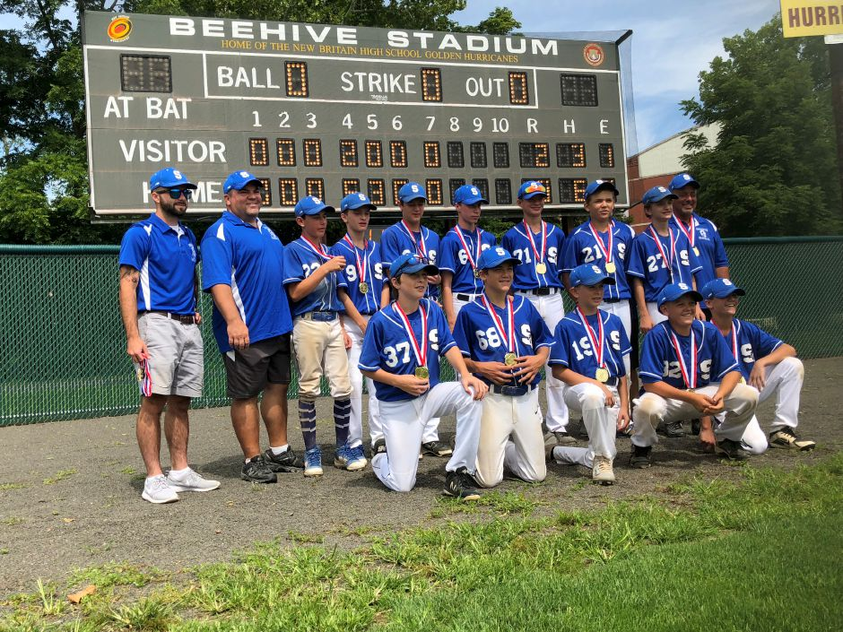 The Southington Blue Knights 13U baseball team won a gold medal Sunday at the Nutmeg Games at Beehive Stadium in New Britain. The team included (back row, left to right), coach Austin King, coach Leif Laframboise, C.J. Pierce, Drew Nafis, Dean Robinson, Christian Watson, Jacob DeGumbia, Connor Whitehead, Jake Nafis and manager Mick Massarelli. Pictured in the front row, left to right, are Nate Cofrancesco, Aidan Buck, Chase Mendela, Noah Richert and Trent Laframboise. | Photo courtesy of Ron Buck