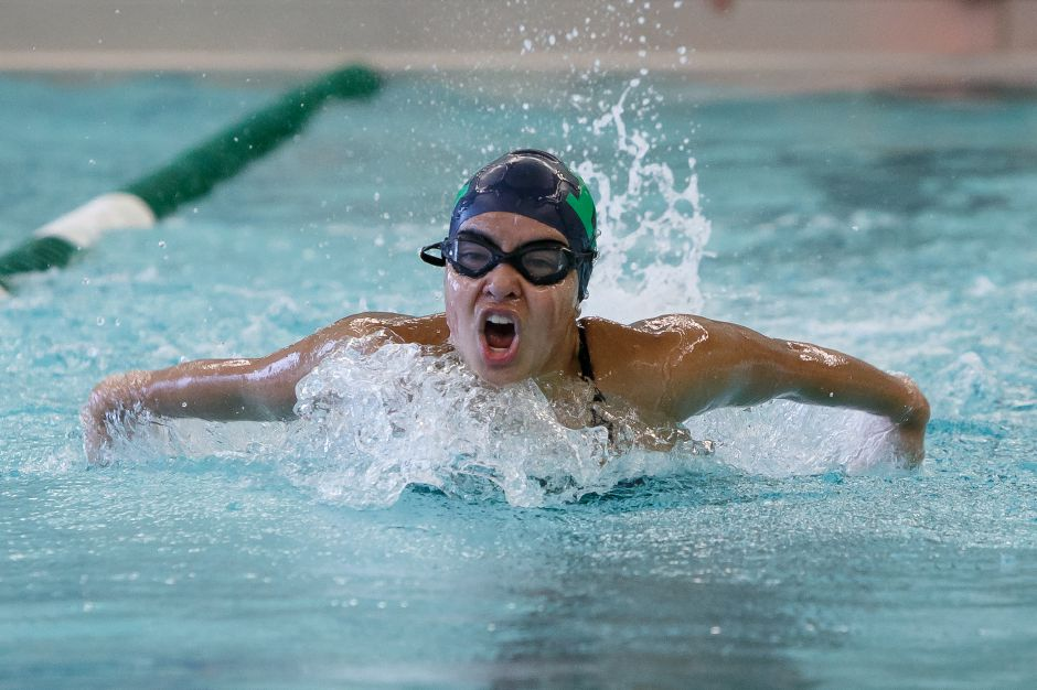 Katherine Aceves anchored Meriden's winning 200 individual medley in Tuesday's storm-halted meet with Bristol Central at the Malone Aquatic Center.