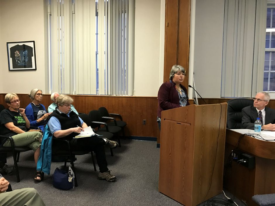 Residents opposed the storage of fracking waste at a pubilc hearing in Meriden. Wedesday, Oct. 25, 2017. | Leigh Tauss, Record-Journal