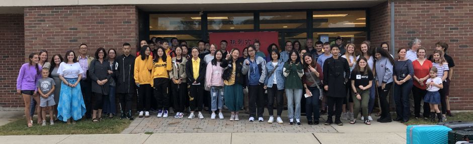 Students from Tongji High School were welcomed to Coginchaug High School in Durham on Monday, Sept. 30. Tongji students will be shadowing students and participating in STEAM activities that promote collaboration among students. Photo courtesy of RSD-13.