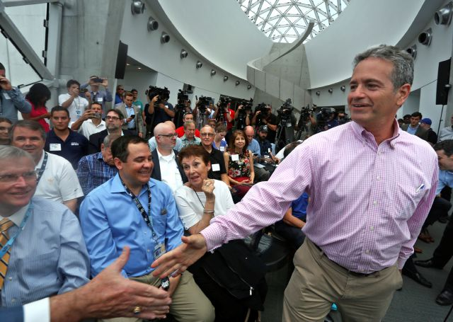 Tampa Bay Rays Principal Owner Stuart Sternberg greets people before a press conference at the Dali Museum in St. Petersburg, Fla., Tuesday, June 25, 2019. Sternberg spoke about exploring the prospect of playing some future home games in Montreal. (Scott Keeler/Tampa Bay Times via AP)