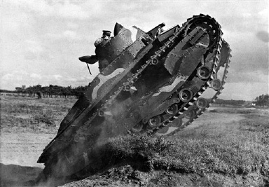 A Japanese tank during manoeuvres on the drill ground in Narashino, near Tokyo, headquarters of the Japanese First Tank Company on August 22, 1935. (AP Photo)