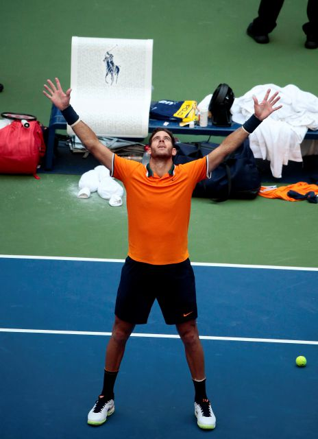 Juan Martin del Potro, of Argentina, celebrates after defeating John Isner during the quarterfinals of the U.S. Open tennis tournament, Tuesday, Sept. 4, 2018, in New York. (AP Photo/Andres Kudacki)