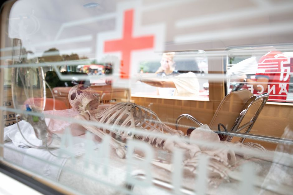 A skeleton lays in the back of an antique ambulance at the Wallingford Fire Department