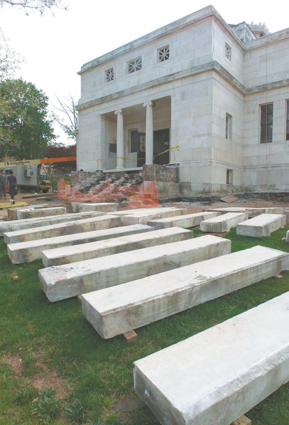 File photo - Large marble steps lay labeled and in order on the lawn of the Curtis Memorial Building on West Main Street that is getting restored.