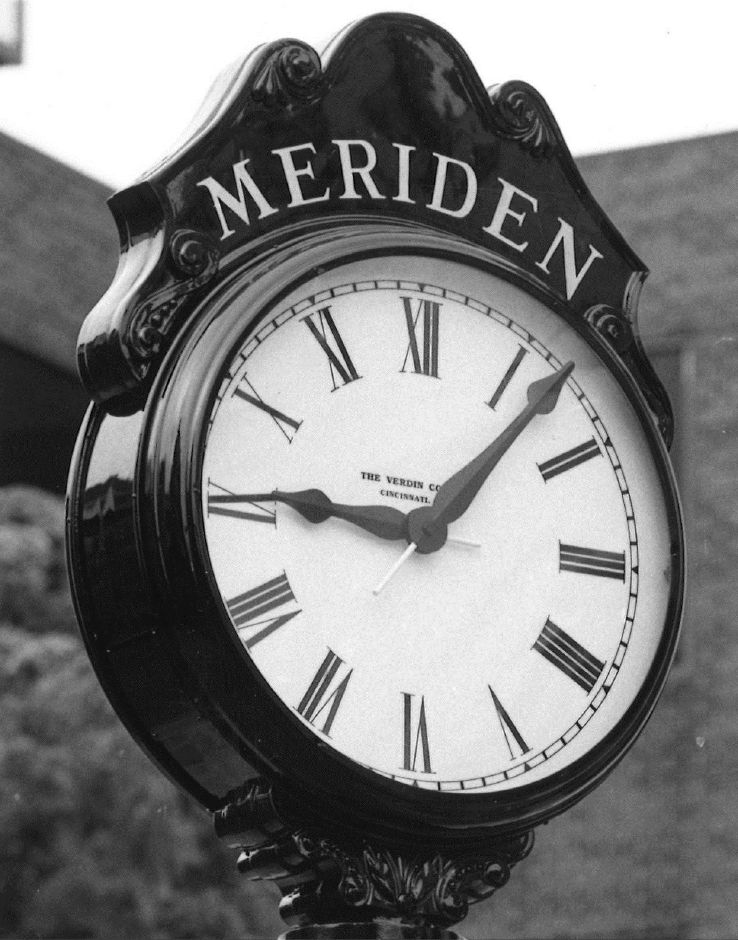 Clock on Colony Street in Meriden. 1989.
