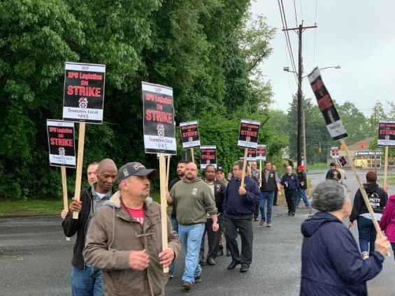 XPO Logistics workers strike at the North Haven warehouse on Thursday, May 30, 2019. | Photo Courtesy Teamsters