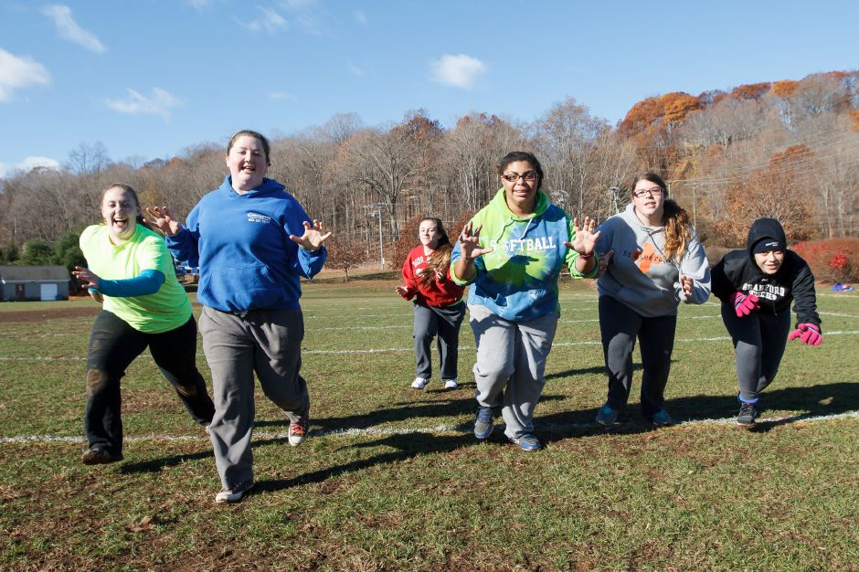 Saturday during Powder Puff practice at Wilcox Tech in Meriden Nov 15, 2014 | Justin Weekes / For the Record-Journal