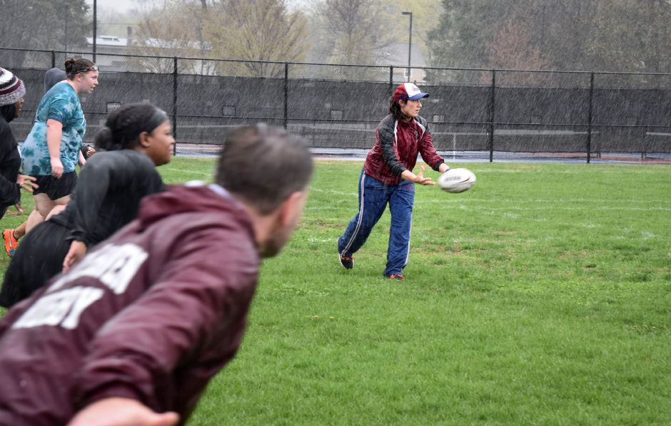 Coach Xannie Brown during a North Haven Girls Rugby team practice at the athletic complex on April 22, 2019. Their next game is May 2, 4:30 p.m. at the athletic complex. | Bailey Wright, North Haven Citizen