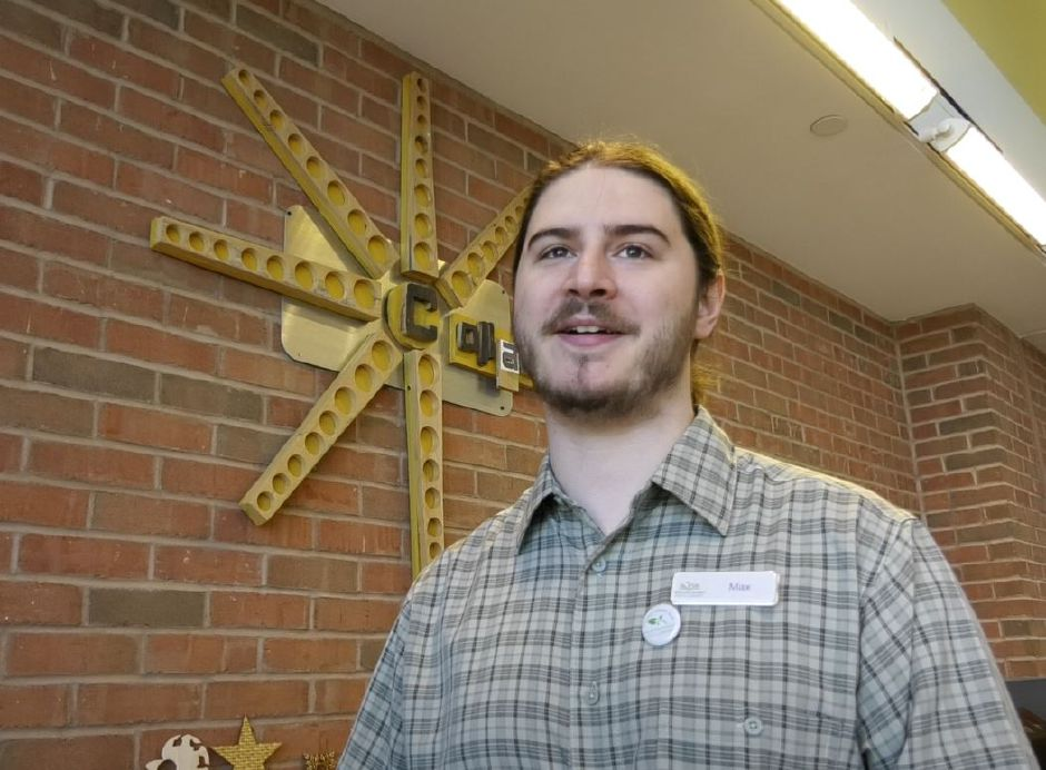 Max Spurr, Creative Technologies Librarian, works in the Collaboratory makerspace helping patrons with digital skills and art projects at Wallingford Public Library, 200 North Main St., Wallingford. | Ashley Kus, Record-Journal