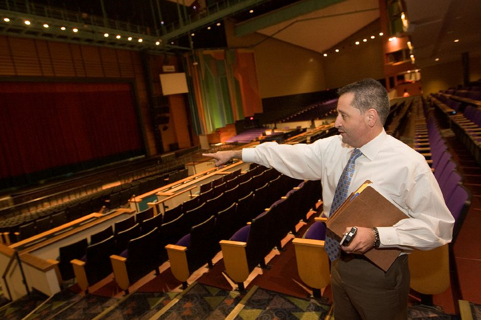 School Superintendent Salvatore Menzo shows section seating for Sheehan students who will be attending classes at the Toyota Presents Oakdale theater in Wallingford, Tuesday, November 6, 2012. (Dave Zajac/Record-Journal)