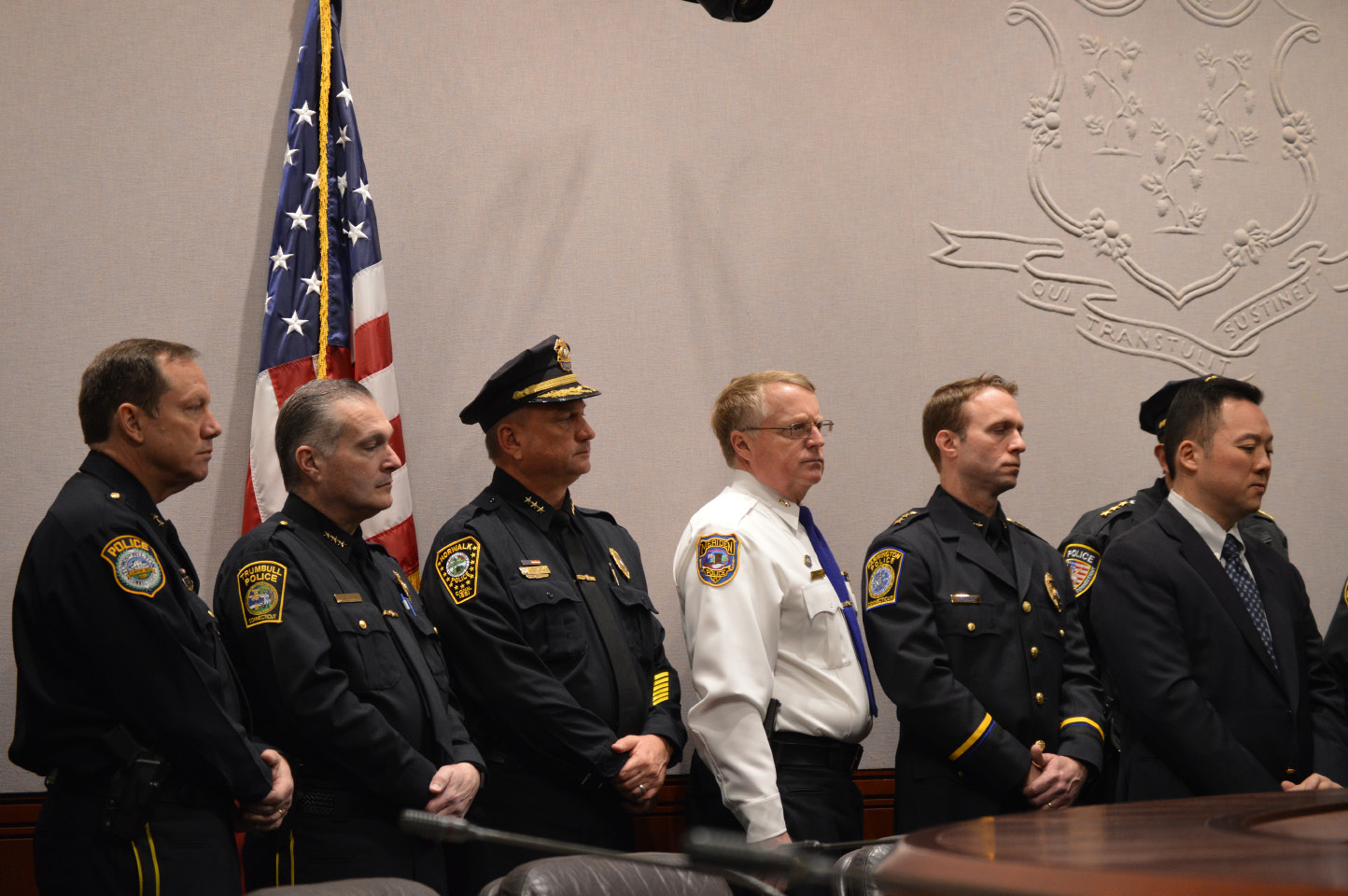 Meriden Police Chief Jeffry Cossette, in white, and members of the Connecticut Police Chiefs Association support legislation that would require those openly carrying a handgun to show proof of a permit . | Mike Savino, Record-Journal
