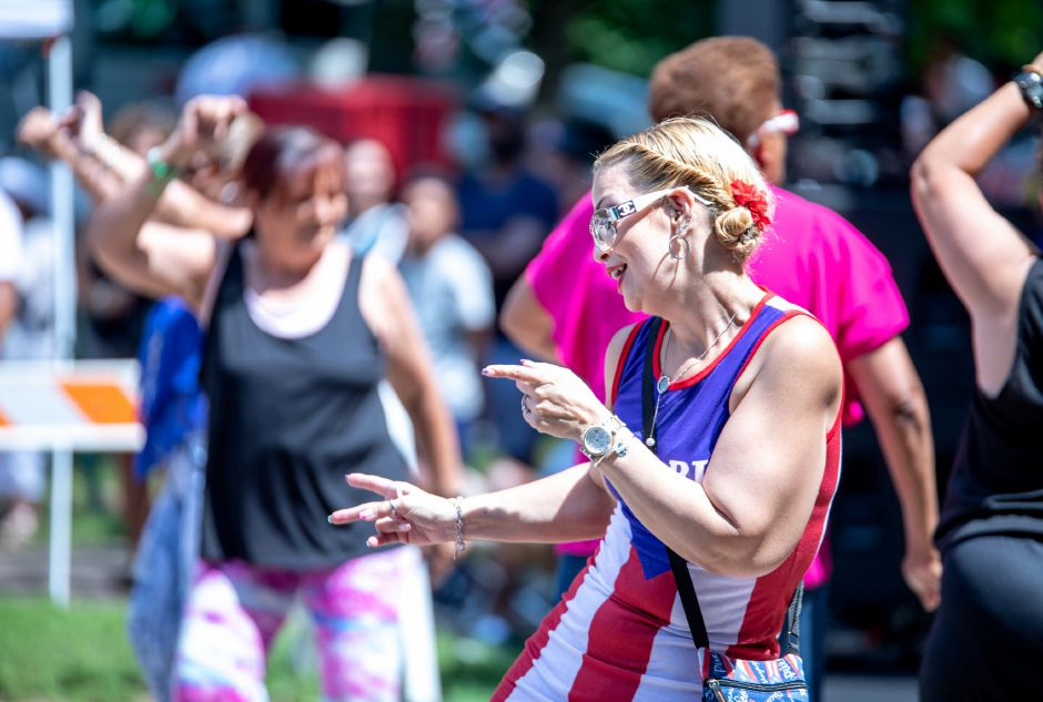 Dancers at the Meriden Puerto Rican Festival on August 5, 2018. | Devin Leith-Yessian/Record-Journal