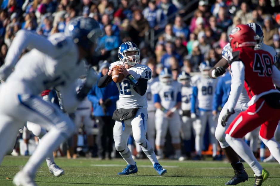 Thursday during the 22nd Annual Apple Classic on Thanksgiving Day at Alumni Field on the campus of Cheshire High School in Cheshire. The Blue Knights of Southington defeated the Cheshire Rams 30 to 22. November 23, 2017 | Justin Weekes / For the Record-Journal