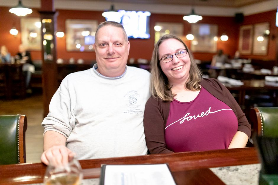 Carissa and Eric, of Plainville, have a drink at Waxy