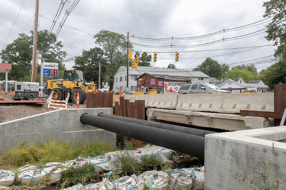 The East Center Street bridge construction site in Wallingford, Monday, Sept. 24, 2018. Kevin Nursick, state Department of Transportation spokesman, said it will be at least two more months before work can recommence, and the project is now expected to last until the summer of 2020. Dave Zajac, Record-Journal