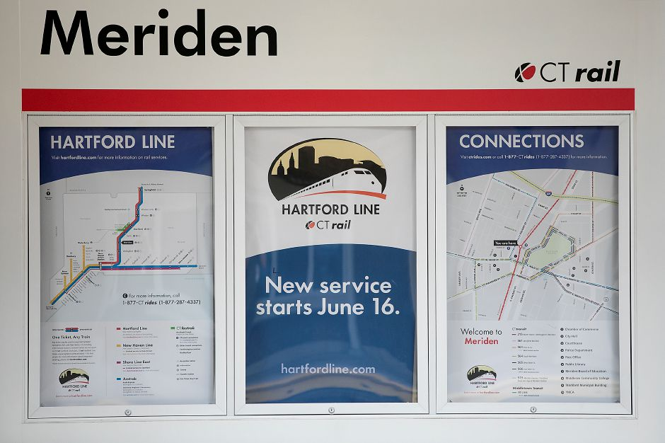 Maps displayed for the CTrail Hartford Line at the Meriden train station, Friday, June 15, 2018. Dave Zajac, Record-Journal