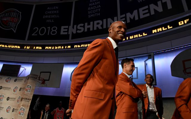 Ray Allen, a class of 2018 inductee into the Basketball Hall of Fame, smiles as he walks off stage at the end of a news conference at the Naismith Memorial Basketball Hall of Fame, Thursday, Sept. 6, 2018, in Springfield, Mass. (AP Photo/Jessica Hill)