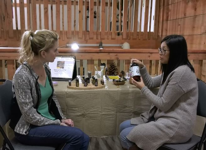 Record-Journal Digital Content Producer Ashley Kus talks with Holistic Wellness Coach Victoria Boccalatte about the essential oil classes and resources available at The Red Barn in Durham, 352 Main St., Durham. |Ashley Kus, Record-Journal