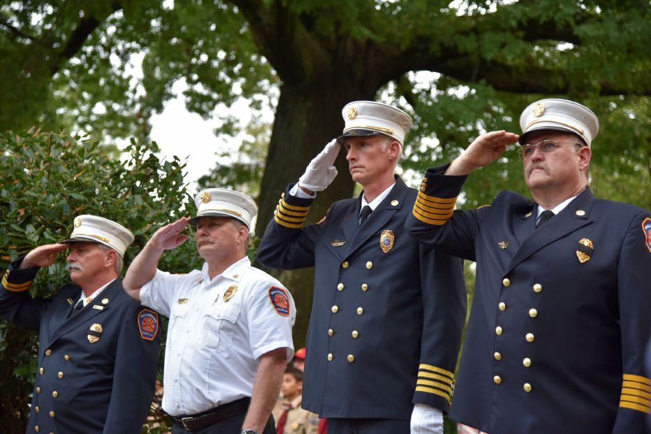 Wallingford senior fire officials at a 9/11 remembrance ceremony at the Wallingford Town Hall on Tuesday, September 11, 2018. | Bailey Wright, Record-Journal