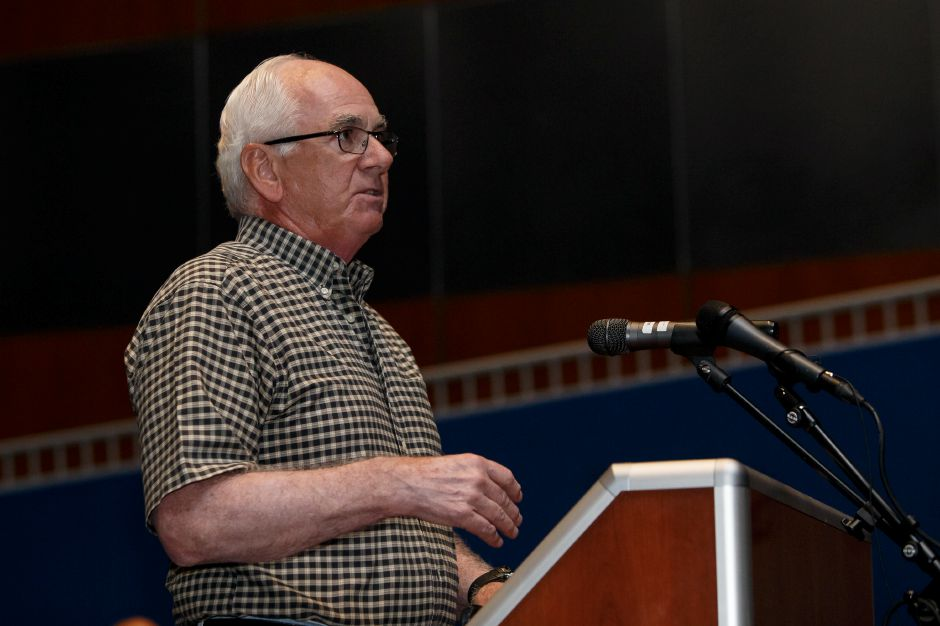 Meriden resident John Rush speaks Thursday during a public hearing with the Meriden Finance Committee to speak about the tax increase at Lincoln Middle School in Meriden August 9, 2018 | Justin Weekes / Special to the Record-Journal