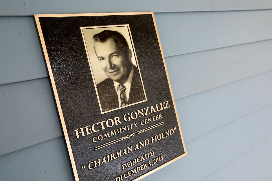 A plaque at the entrance to the Hector Gonzalez community center at  Chamberlain Heights in Meriden