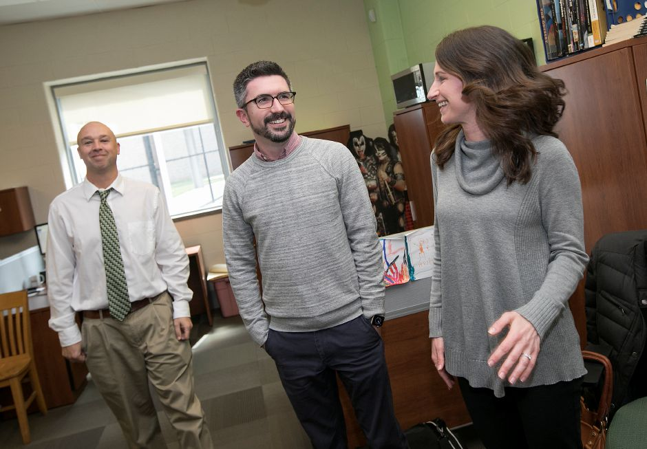 Social studies teachers, left to right, Dan Lobner, Chad Cardillo and Debbie Banas were awarded travel grants from Fund for Teachers and the Dalio Foundation at Maloney High School, Thursday, April 5, 2018. Dave Zajac, Record-Journal