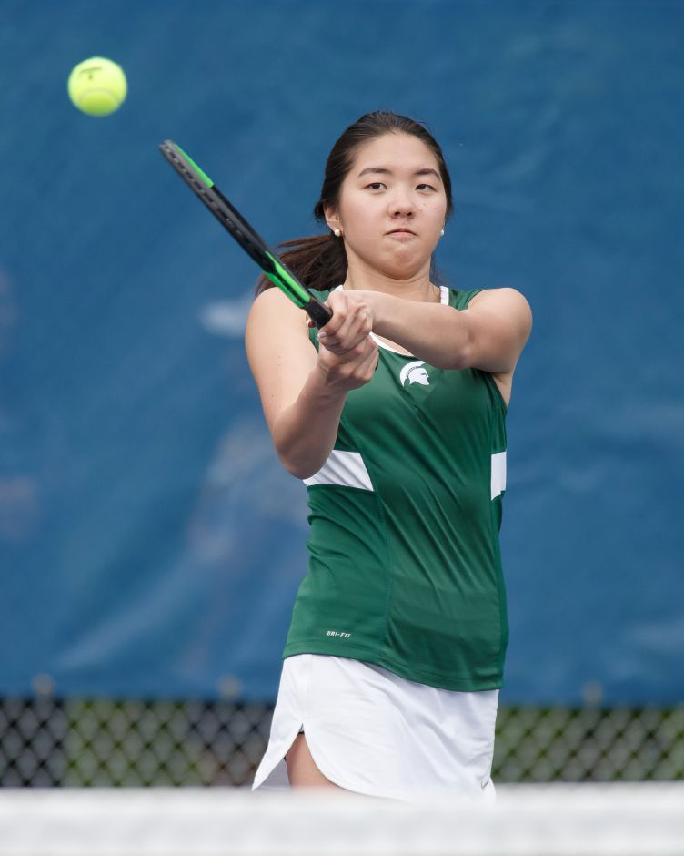 Alissa Hoffman and the Maloney girls tennis team improved to 5-2 with Wednesday's home victory over Bristol Central. | Justin Weekes / Special to the Record-Journal