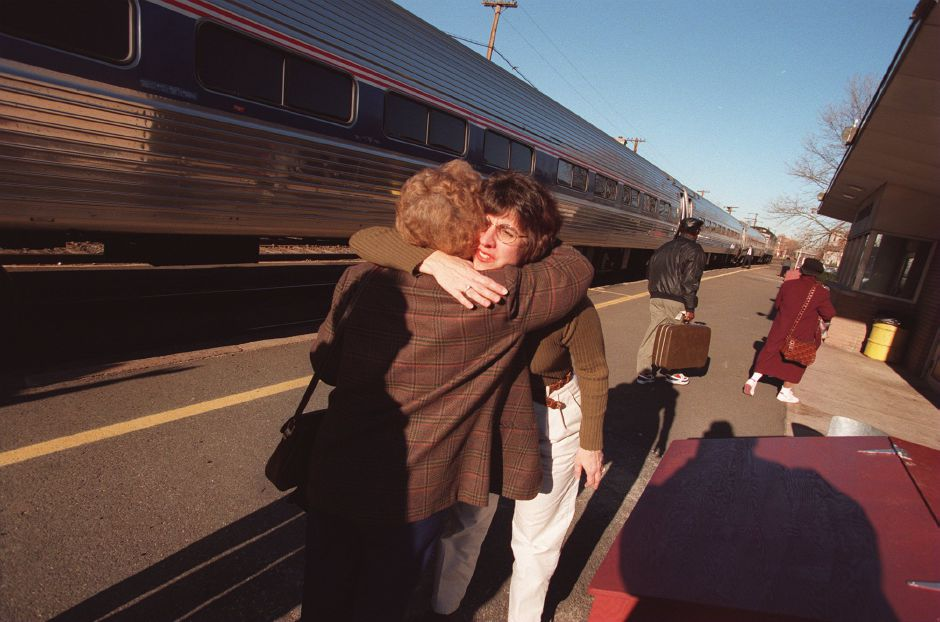 RJ file photo - Gail Albert of Wolcott greets her mother Eleanor Mori who arrived via Amtrak at Meriden